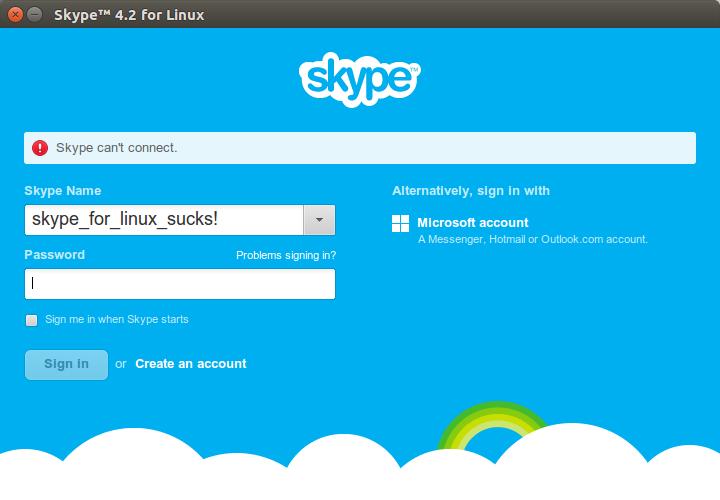 Skype Can't Conect Ubuntu